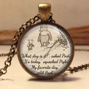 Winnie the Pooh Glass and Bronze Necklace